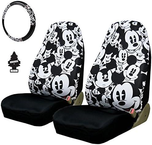 New Design 4 Teile Disney Mickey Maus Autositzbezüge Lenkrad Cover Zubehör Set Mit Reise Größe Violett Slice Auto