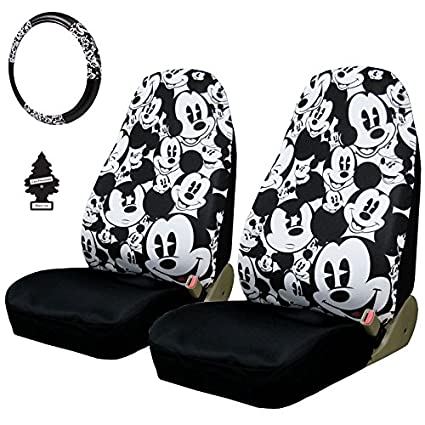 New Design 4 Pieces Disney Mickey Mouse Car Seat Covers Steering Wheel Cover Accessories Set With