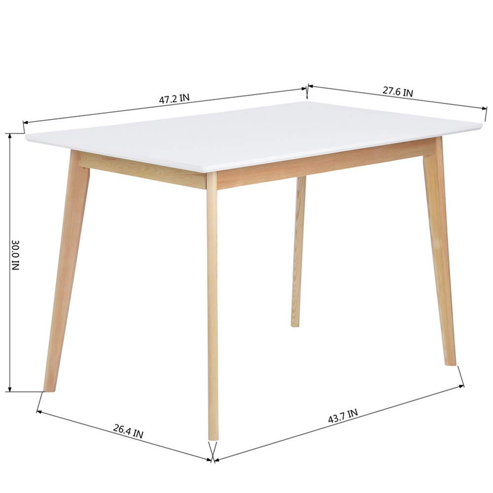 GreenForest Dining Table Mid Century Modern Rectangular Kitchen Leisure Table with Solid Wooden Legs 47.2'' x 27.6''x 30'', White by GreenForest (Image #4)