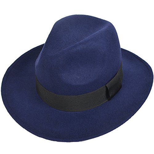 Men's Wide Brim 100% Wool Fedora Trilby Winter Hat Stitch Edge B5030 (Royal Blue) (Stitch Wide)
