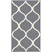 Maples Rugs Kitchen Rug - Rebecca 18 x 210 Non Skid Small Accent Throw Rugs [Made in USA] for Entryway and Bedroom, Grey/White