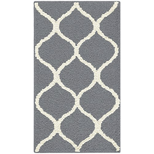 Maples Rugs Kitchen Rug - Rebecca 1'8 x 2'10 Non Skid Small Accent Throw Rugs [Made in USA] for Entryway and Bedroom, Grey/White - smallkitchenideas.us