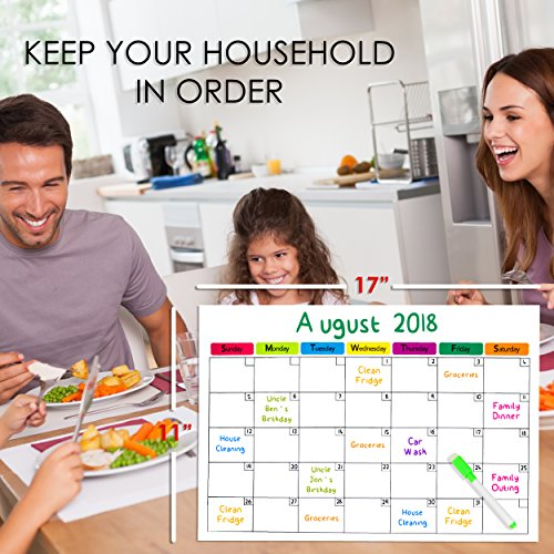 2 Magnetic Dry Erase Calendars for Refrigerator & 6 Colored Markers/Stay on Track with Your Fridge Whiteboards/Complete Set (1 Monthly, 1 Weekly and 6 Markers) by Santa Barbara Specialties (Image #2)