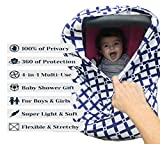 Changing Table That Goes Over Crib Breastfeeding Cover - Nursing Scarf - Blue Baby Car Seat Canopy - Multi use 4 in 1 Stretchy - Shopping Cart, High Chair - Stroller and Carseat Covers - Perfect Baby Shower Gift for Boys and Girls