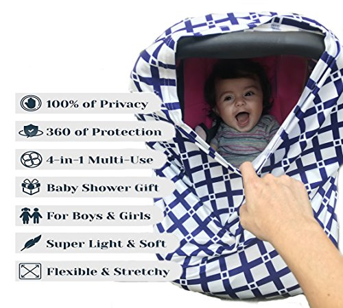 Nursing Breastfeeding Cover Scarf - Baby Car Seat Canopy - Stretchy Multi-Use Blanket Stroller - For Infant Girls & Boys - Shopping Cart -Blue Print Breathable- Perfect Baby Shower Gift