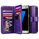Galaxy S7 Case, ULAK Magnetic Premium PU Leather Wallet Case Flip Cover with Built-in 9 Slots and Wrist Strap for Samsung Galaxy S7 (5.1 inch) 2016 Release (Purple)