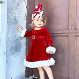Girl Christmas Costume,Kehome Kid Toddler Girl Winter Warm Dresses Red Princess Dress Party Fluffy Xmas Santa Dress Red 12-18Months