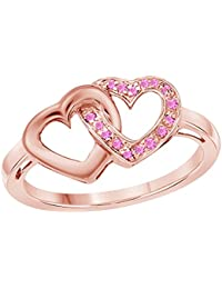 Love Knot Heart Promise Ring 14k Gold Plated Alloy White/Yellow/Rose/Black 0.20 CT Created Pink-Sapphire Double Linked Heart Engagement Rings Sizes 4 to 11