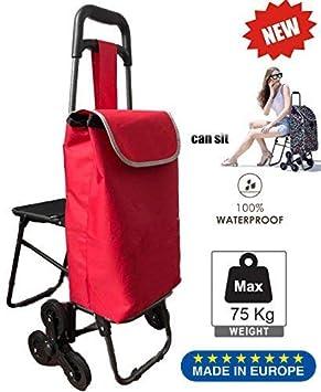 Tavalax Carrito de compras plegable & 6 ruedas & Carrito de compras con escalera & A
