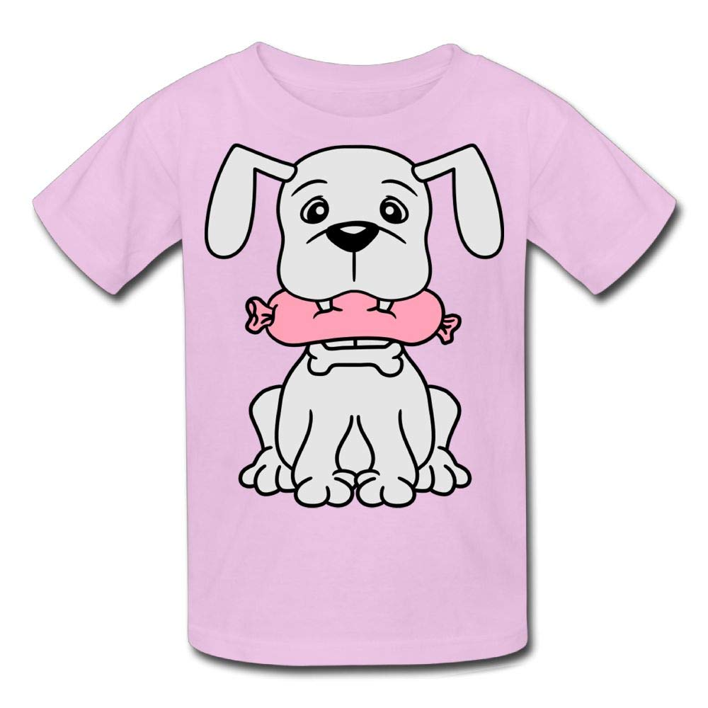Moniery Short-Sleeves Shirt Cute Dog Eating Sausage Youth Girls'