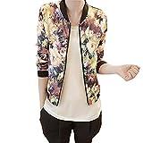 Women Jacket,Haoricu 1PC Women Stand Collar Long Sleeve Zipper Floral Printed Bomber Jacket (L)