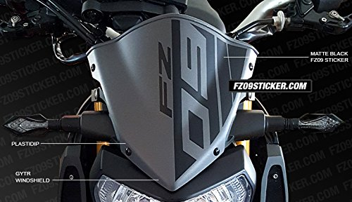 Yamaha fz 09 gytr windshield sticker flat black