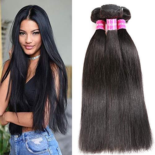 Encii Hair Brazilian Straight Hair 3 Bundles 28 26 24 Unprocessed Brazilian Virgin Straight Weave Hair Human Bundles Natural Black Color Total 300g
