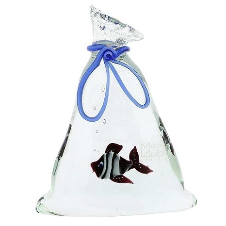 glassofvenice cristal de Murano bolsa de acuario con peces tropicales