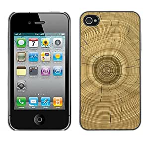 Paccase / SLIM PC / Aliminium Casa Carcasa Funda Case Cover - Tree Core Rings History Brown - Apple Iphone 4 / 4S