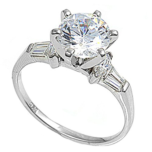 - Oxford Diamond Co 2CT Cubic Zirconia Round Brilliant Solitaire with Baguette Engagement Ring sizes 6