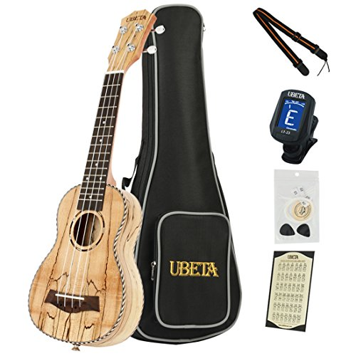 - UBETA US-SM-061 21'' Soprano Ukulele Spalted Maple Top,Back and Sides (6 in 1) Kit: Gig bag, Clip-on tuner, Aquila Strings,Picks and Strap