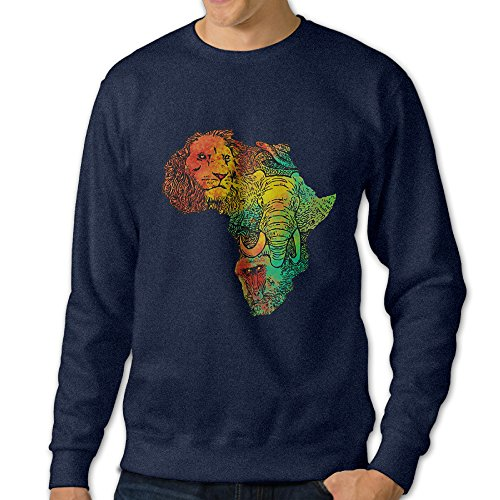 Bekey Men's Africa II Map Crew-Neck Hoodie Sweatshirt L Navy