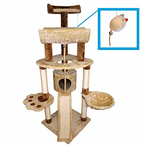 "57"" Hiding Cat Tree Bed Sisal Scratching Post Furniture Playhouse Pet Bed Kitten Cat Tower Condo Stairs for Kittens"