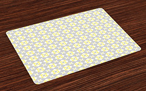 Pool Tablecloth Triangles (Ambesonne Grey and Yellow Place Mats Set of 4, Tile Inspired Squares Rounds in Triangles Image, Washable Fabric Placemats for Dining Room Kitchen Table Decor, Pale Grey Pale Yellow and White)