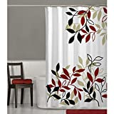 Red and Gray Shower Curtain MAYTEX Satori Leaf Fabric Shower Curtain, Red, 70 inches x 72 inches