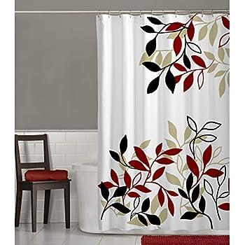 MAYTEX Satori Leaf Fabric Shower Curtain Red 70 Inches X 72