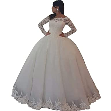 Harsuccting Off Shoulder Long Sleeve Lace Appliques Ball Gown Wedding Dress at Amazon Womens Clothing store:
