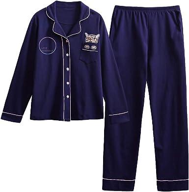 BTS Pijamas 2 Piezas Suelto Mujer Conjunto de Pijama Puro Algodón Ropa de Salón con Bolsillos Conjunto de Dormir Casuales Top de Manga Larga y Pantalones: Amazon.es: Ropa y accesorios