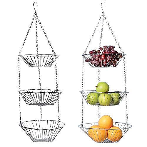 ALLOMN Hanging Basket, Stainless Steel Fruit Basket 3-Layer Hanging Fruit Vegetables Disassemble Storage Basket for Kitchen Bathroom Restaurants