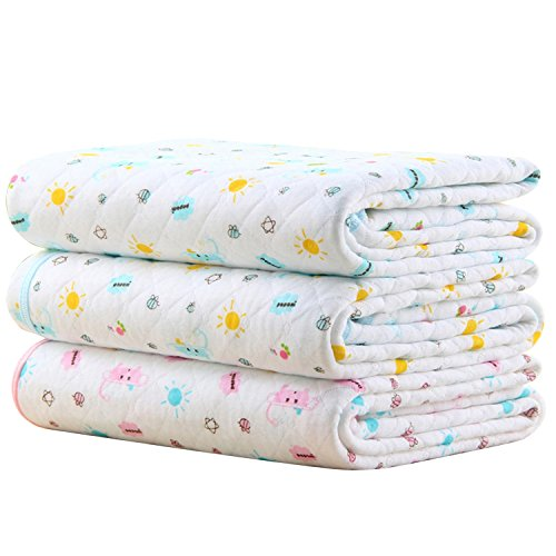 Baby Kid Waterproof Changing Pads - Breathable Mattress Pad Diapering Sheet Protector Menstrual Pads Pack of 3 (L (27.5 x...
