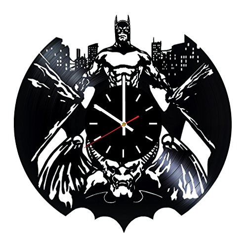 Batman Vinyl Record Wall Clock - Living room or Home room wall decor - Gift ideas for men and women, boys - Superhero Movie Unique Art Design -