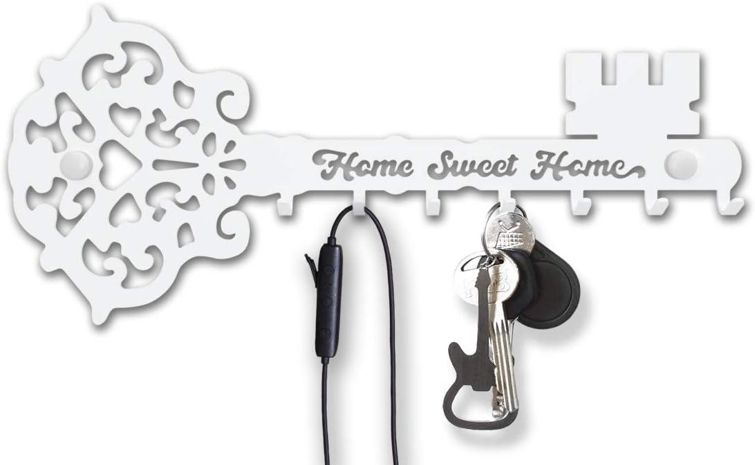 Key Holder for Wall Mount Sweet Home (7-Hook Rack) Decorative, Metal Hanger for Front Door, Kitchen, or Garage | Store House, Work, Car, Vehicle Keys | Vintage Decor