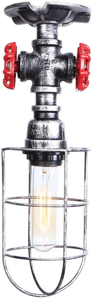 Industriels Vintage Plafonnier R/étro Tuyau Deau Lampe de plafond M/étal Cage Plafonniers Loft Rustique Plafonnier Eclairage robinet darr/êt rouge Decoratif pour Chambre salle /à manger couloir,B