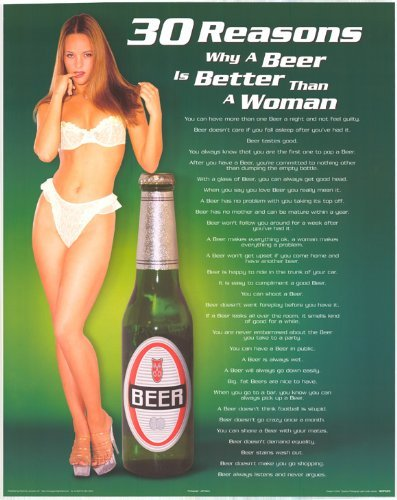 """30 Reasons Why a Beer Is Better Than a Woman - Party/College Poster 24"""" X 36"""""""