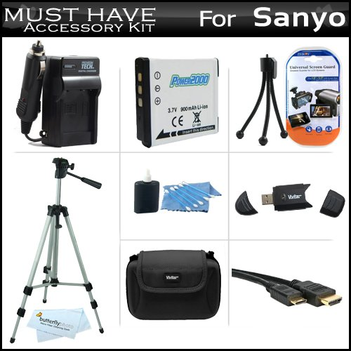 Must Have Accessory Kit For Sanyo VPC-CG102 High Definition Camcorder Includes Extended (900Mah) Replacement DB-L80U Battery + AC/DC Travel Charger + Deluxe Hard Case + Tripod + Mini HDMI Cable + USB 2.0 SD Reader + Much More by ButterflyPhoto (Image #9)
