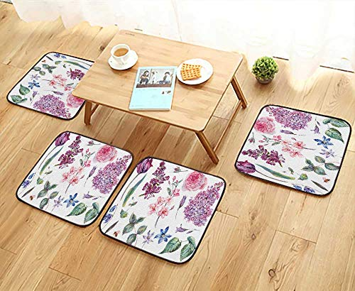 UHOO2018 Universal Chair Cushions SPR Set Vintage Pink Roses Leaves Bloom branche Peach Lilacs Personalized Durable W15.5 x L15.5/4PCS Set