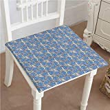 48 Inch Square Leather Ottoman Chair Pads Square Cotton Chair Cushion Print Romantic Roses on Tiger Skin Leather al Lines Background Blue Silver Black Soft Thicken Seat Pads Cushion Pillow for Office,Home or Car 22
