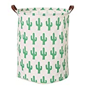 Large Collapsible Round Storage Bin/Collapsible Storage Basket/Clothes Laundry Hamper/Toy Books Holder (Cactus)