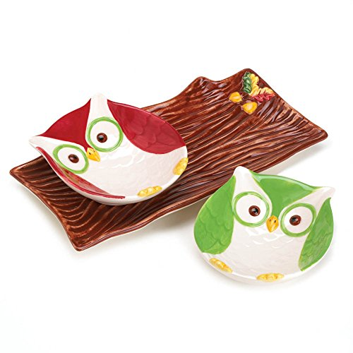 3 Piece Holiday Hoot Snack Plate and Serving Tray Set
