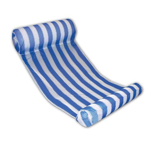 51.75 Blue and White Striped Water Hammock Swimming Pool Lounger by Swim Central