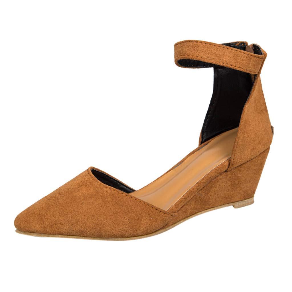 [FULFUGO] 01女性のファッションソリッドカラーカジュアル尖ったつま先ウェッジサンダル足首ストラップジッパーシングルシューズ B07QLLBSRQ 37|褐色 褐色 37