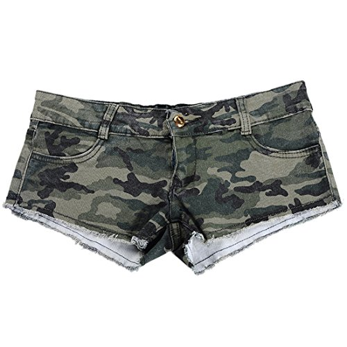 Encounter Women's Camouflage Denim Low Waist Jeans Shorts - Denim Camo