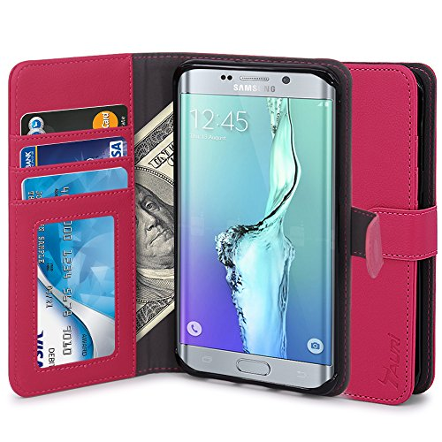 Slim Flip Cover for Samsung Galaxy S6 Edge (Hot Pink) - 5
