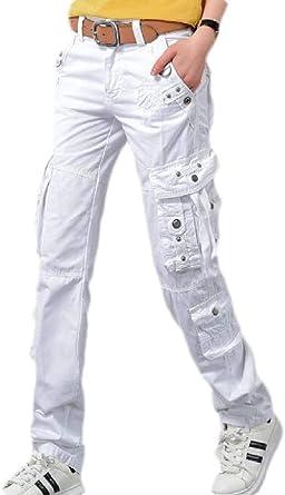 SOWTKSL - Pantalones cargo para mujer (algodón, pierna recta ...