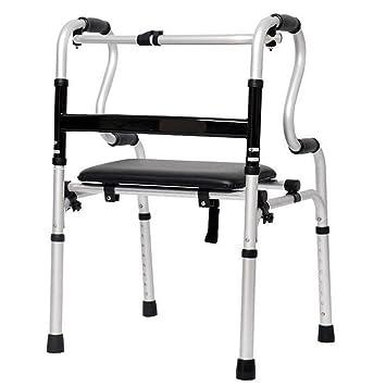 BYGenMai Ligero Aluminio Andador Caminador con Asiento Sin Ruedas Plegable Ajustable Altura para Ancianos Discapacitados Gente