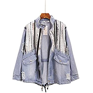 Women's Denim Jeans Jacket  Loose All Match Coat Handmade Sequins Tassel