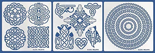 Aleks Melnyk #39 Metal Journal Stencils/Celtic Knot, Round and Dragon/Stainless Steel Stencils Kit 3 PCS/Templates Tool for Wood Burning, Pyrography and - Celtic Knot Metal