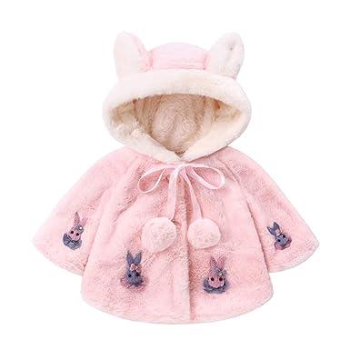 Ropa Bebe Niña Invierno,Tefamore Infantil Moda Orejas de Conejo Grueso Chaqueta con