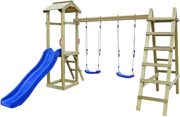Festnight Juego de Parque de Juegos con Escalera Deslizante y Columpio para Jardín al Aire Libre, Madera de Pino, 286 x 237 x 218 cm: Amazon.es: Hogar