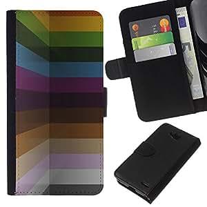 KLONGSHOP // Tirón de la caja Cartera de cuero con ranuras para tarjetas - Colores pastel pintura líneas horizontales - LG OPTIMUS L90 //